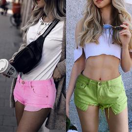 红绿糖果彩色牛仔短裤女2021年冬春夏新款性感低腰卷边外穿热裤潮