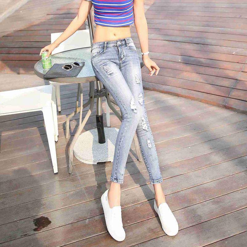 浅色低腰九分破洞紧身显瘦铅笔小脚裤牛仔裤子女2021新款春夏薄款