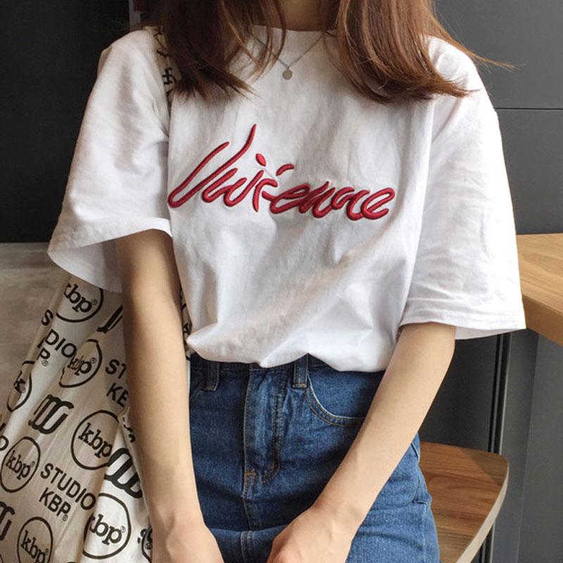 韓範英文字母刺繡寬鬆顯瘦圓領套頭原宿風短袖T恤衫女學生上衣潮