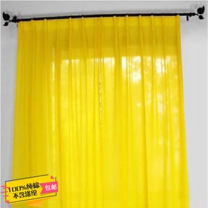美式乡村复古田园风北欧风黄色纯棉布半遮光卧室书房佛堂纱帘窗帘
