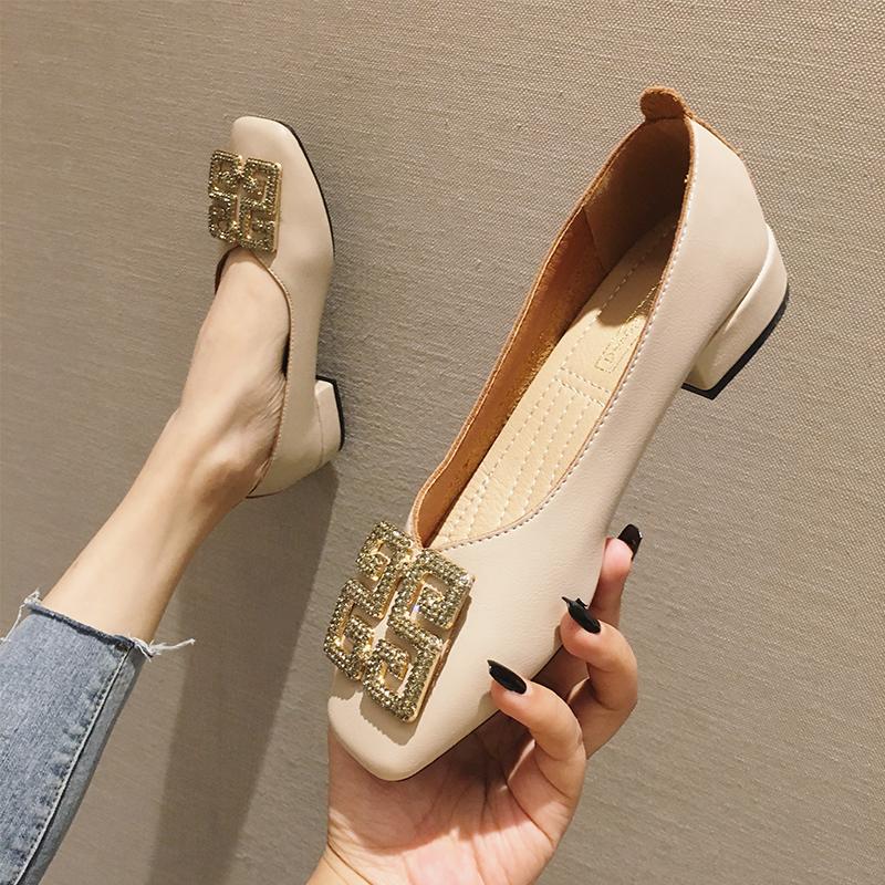 粗跟单鞋女2019春秋新款韩版奶奶鞋复古玛丽珍鞋百搭低跟工作鞋子