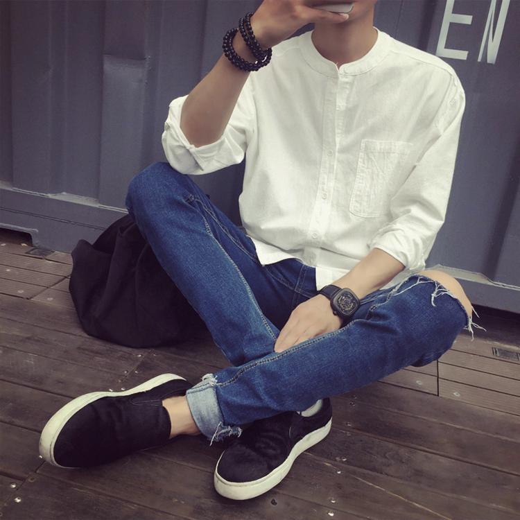 中國風男裝春秋季復古亞麻襯衫男寬鬆長袖棉麻襯衣麻料T恤麻布衣