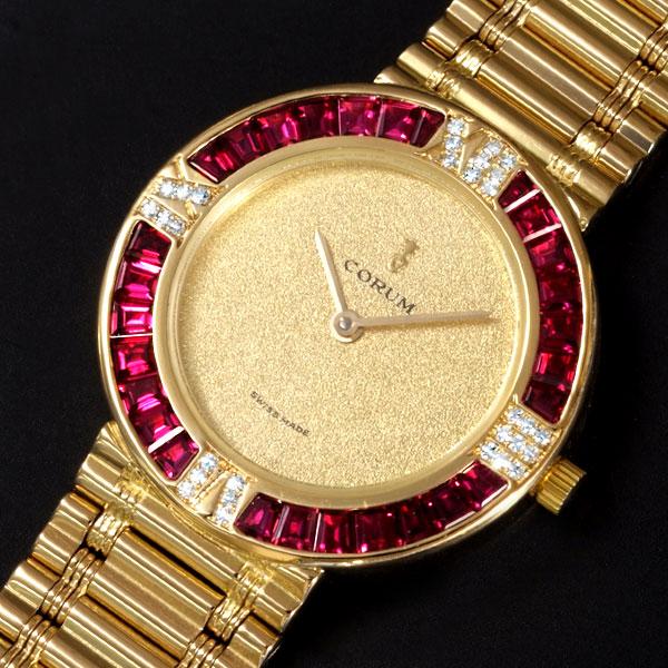 瑞士二手原装手表 昆仑 CORUM 18k黄金 石英 女表 镶钻 C6790