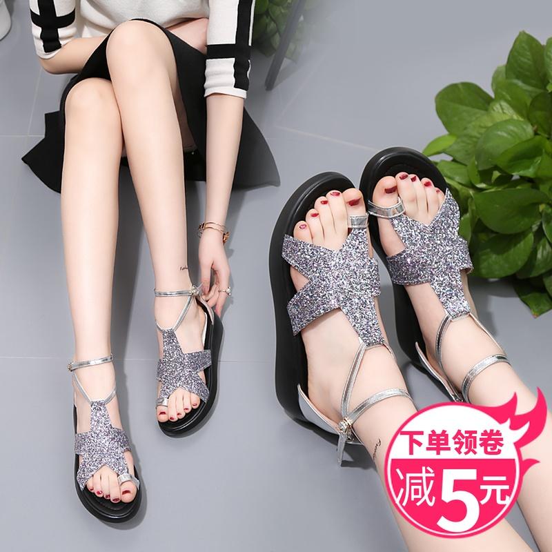 凉鞋女夏套趾厚底绑带学生韩版简约仙女风一字带罗马星星鞋大码41
