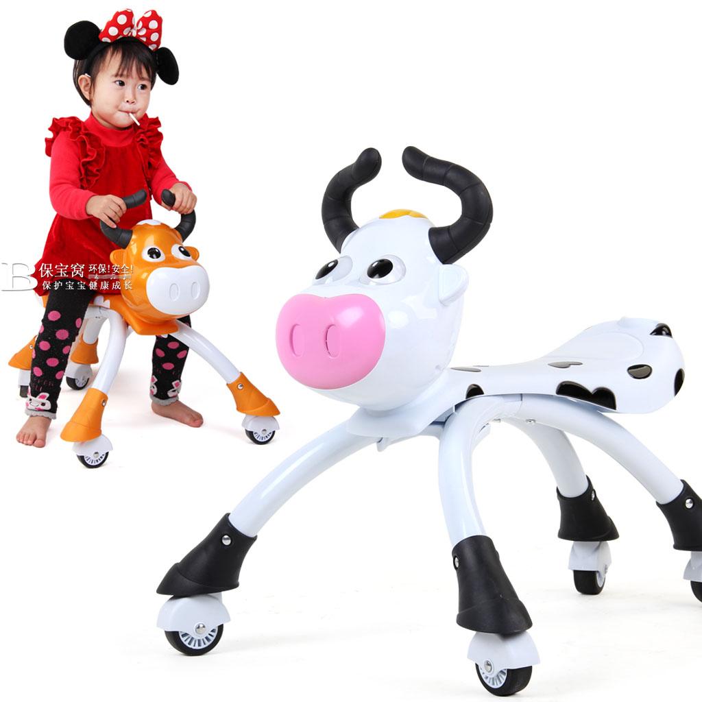寶寶兒童玩具四輪滑行車奶牛學步車溜溜車扭扭車可騎可坐音樂