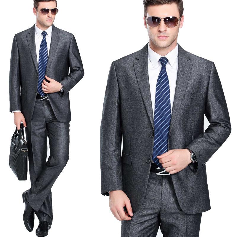 一套春秋男士西服套装时尚潮男商务羊毛纯色西装外套戗驳领缉明线