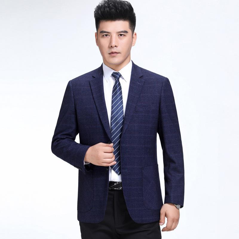 Autumn mens casual suit wool suit business mens suit middle-aged Plaid casual suit single Western coat extra wide