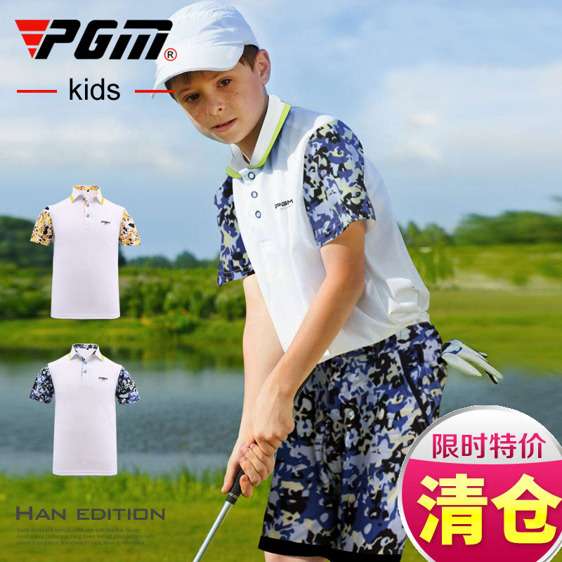 Limited counter authentic golf clothing children Golf Shorts Boys short sleeve T-shirt summer PGM