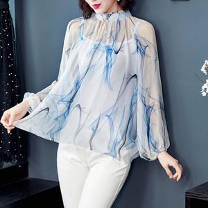 真丝衬衫女欧美时尚2020大牌气质印花立领灯笼袖碎花桑蚕丝上衣夏