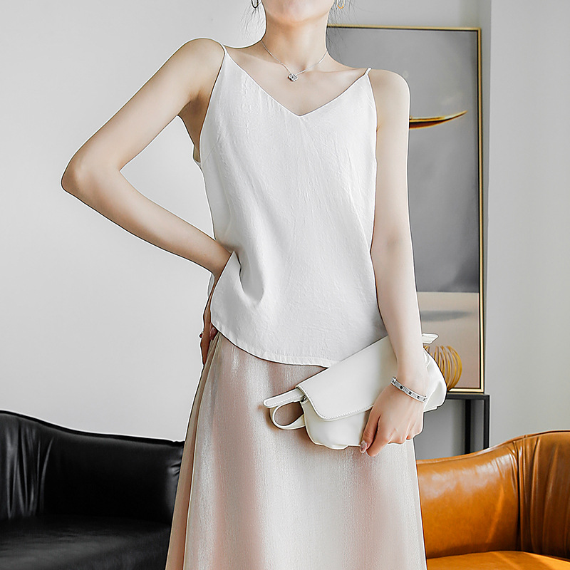 2020 summer new ins style minimalist Japanese Satin thin shoulder strap vest for women to wear inside and outside