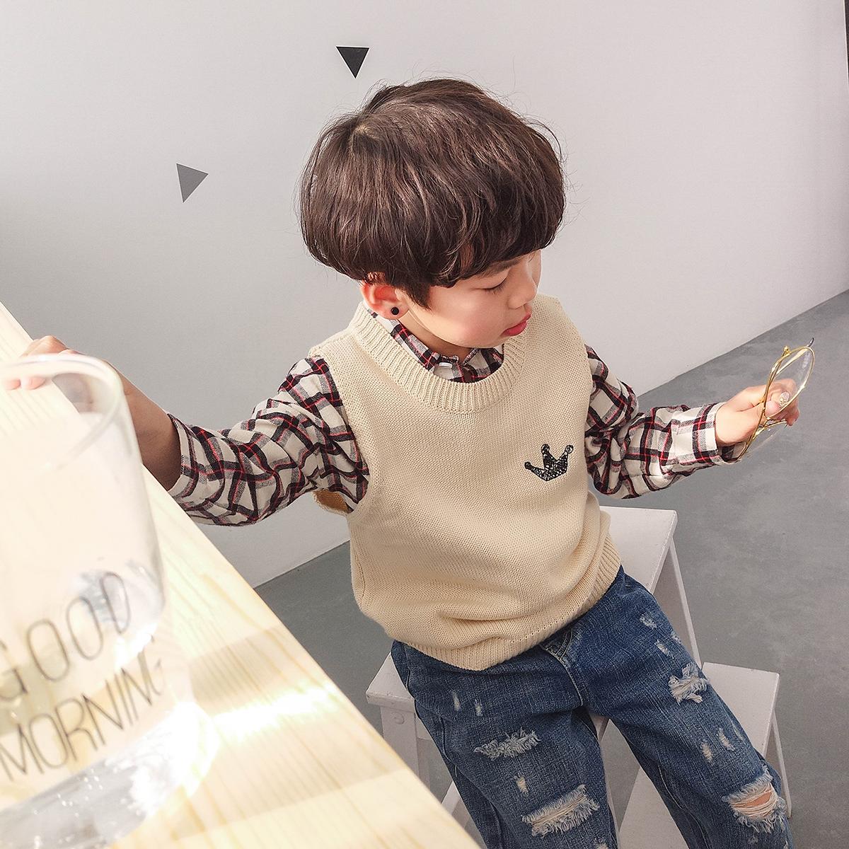 儿童马甲春秋2018新款韩版男童毛衣背心外套针织毛线薄小孩春装
