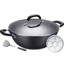 Sulpur frying pan Old-style big iron pan double ear frying pan Household hand cast pig iron pan gas induction cooker applicable