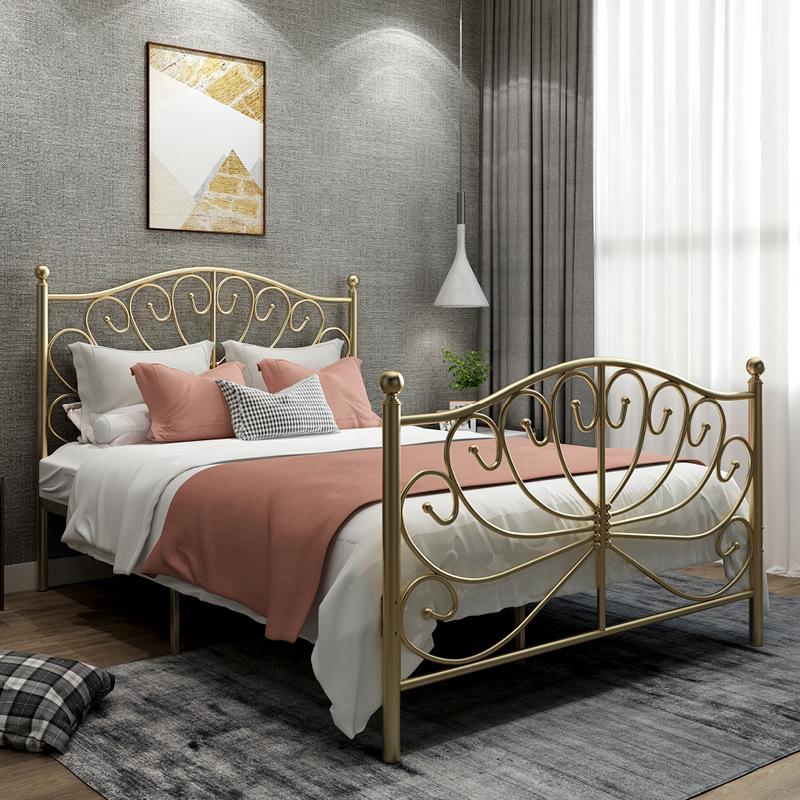 北欧金色ins1.8米现代美式铁艺床限100000张券