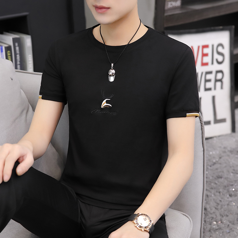 2020 summer new mens T-shirt fashion round neck cotton large mens short sleeve T-shirt daily casual fashion top