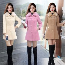 2020冬装新款小个子女毛领厚保暖毛呢子大衣外套时尚修身显瘦包邮