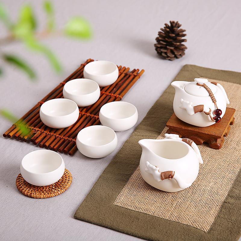 晨翔 定窯茶具 整套茶具套裝功夫茶具陶瓷紫砂茶壺冰裂茶杯海茶盤