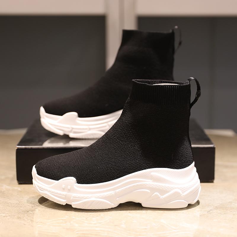新款厚底高帮弹力袜子鞋内增高百搭运动鞋潮小码女鞋31 32 33单鞋