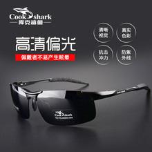 库克鲨鱼户外太阳镜男偏光专业钓鱼眼睛看漂专用高清增晰夜视眼镜