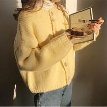 春装新款黄色开衫毛衣女宽松外穿温柔风日系2021春秋针织衫外套女
