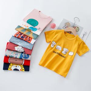 夏季新款男童短袖T恤儿童宝宝纯棉莱卡上衣 舒适打底衫中大童宽松