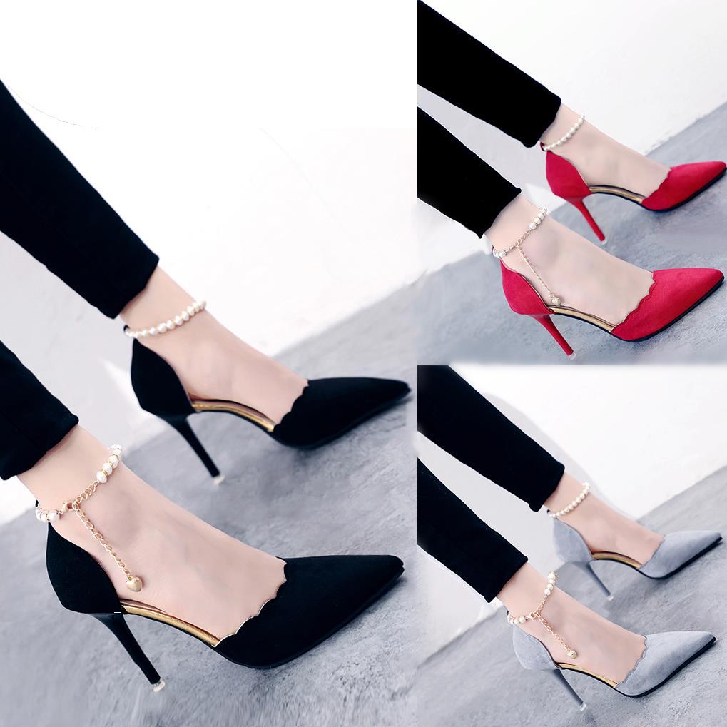 2019新款韩版包头一字扣凉鞋女夏中跟黑色性感细跟女士百搭高跟鞋