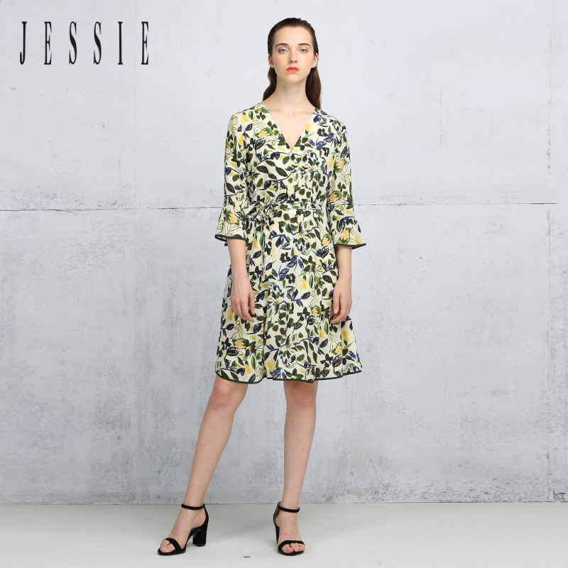 Jessie autumn new art trumpet sleeve high waist bandage silk dress jgcal031