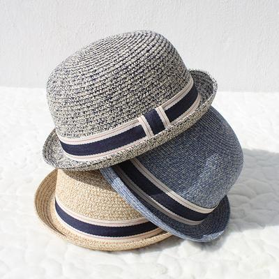 夏季草帽女英伦圆顶卷檐小礼帽可爱亲子款沙滩遮阳帽防晒帽子户外
