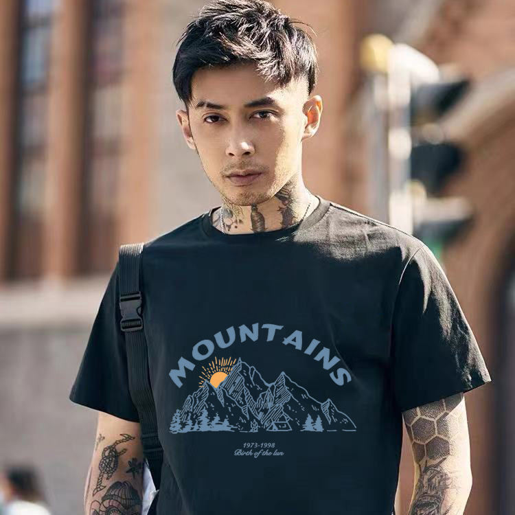 2021 solid color t-shirt mens fashion brand short sleeve loose trend new cotton half sleeve versatile mens and womens lovers top