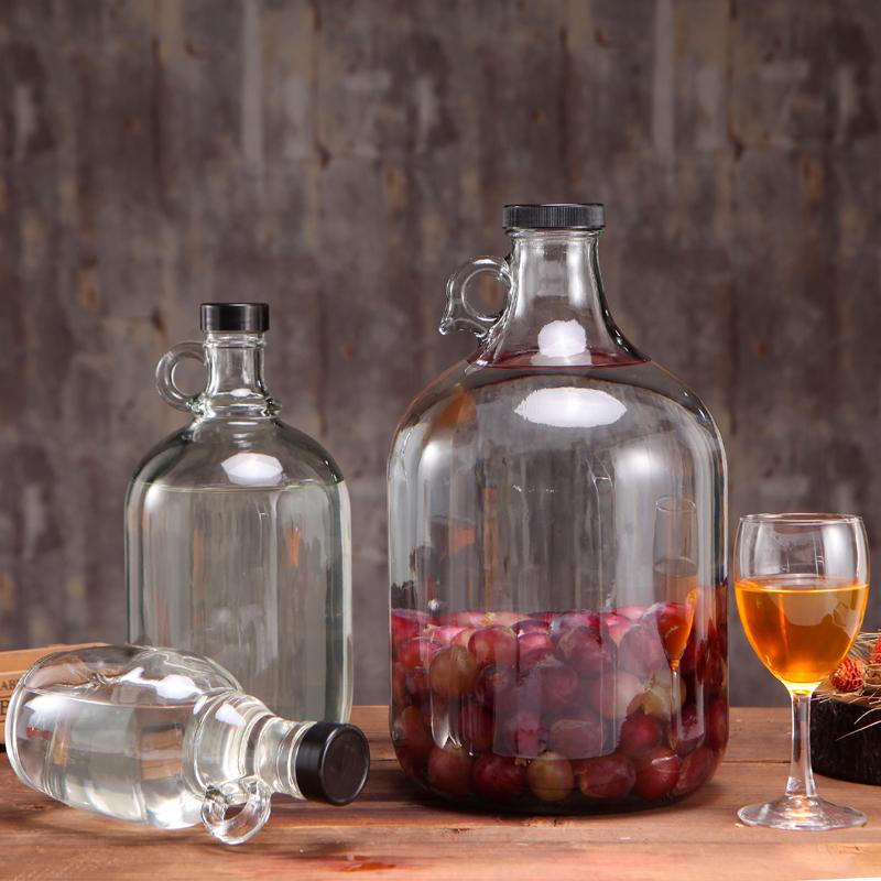 玻璃泡酒瓶葡萄自釀酒容器美國加州紅酒瓶小口密封罐2-10斤藥酒瓶