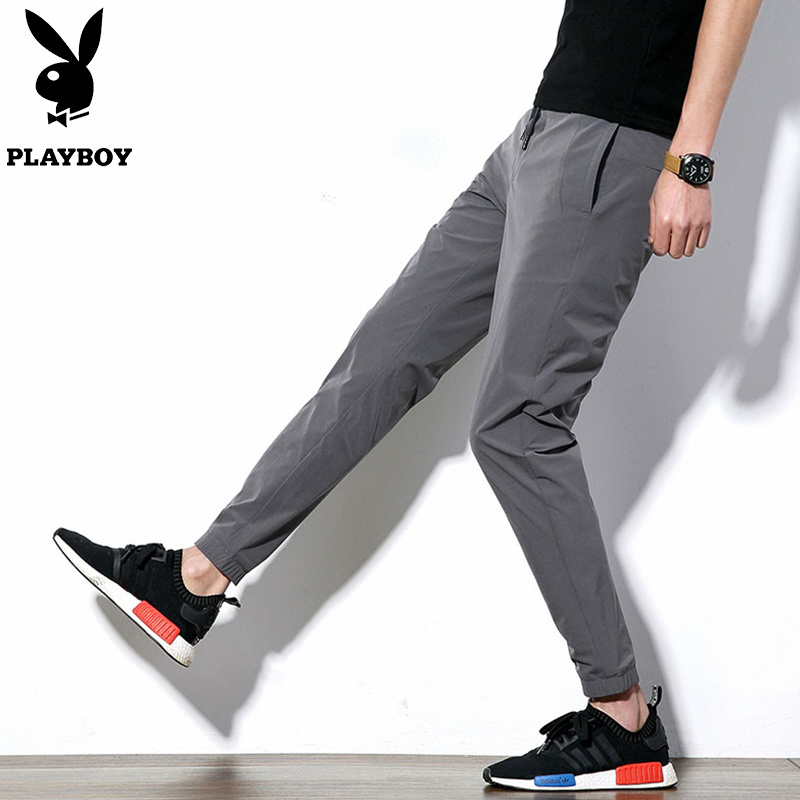 Playboy mens casual pants small leg pants autumn Capri pants mens trousers mens spring and autumn loose pants