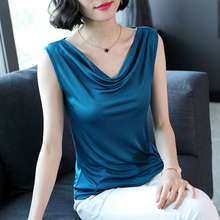 Silk suspender waistcoat for women to wear all kinds of pure-color sexy knitted sleeveless silk jacket in summer