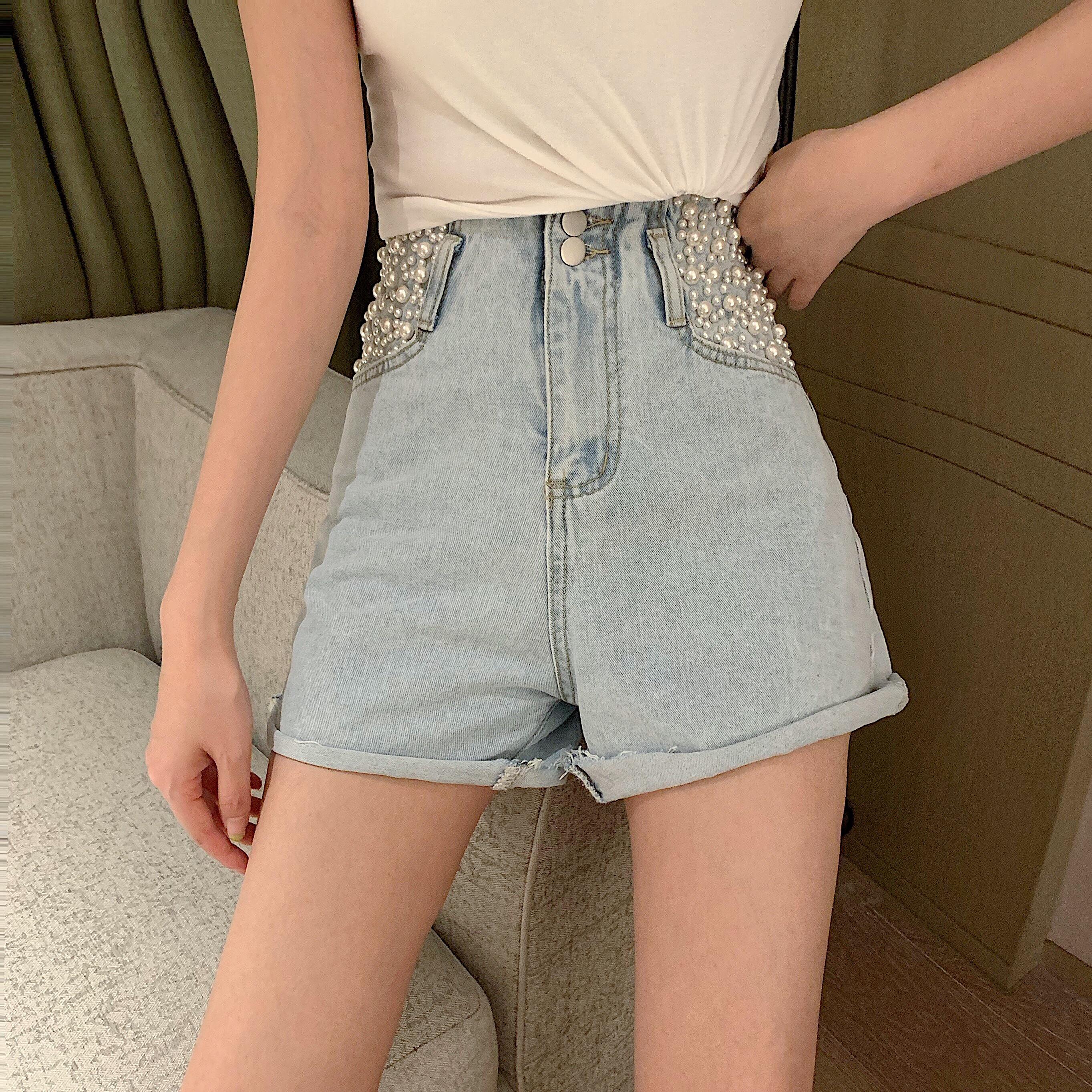 实拍实价重工钉珠高腰牛仔裤女百搭做旧时尚阔腿短裤潮