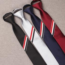 男领带懒人TB三色条发廊韩版窄款潮6CM拉链易拉得黑银灰藏青酒红图片