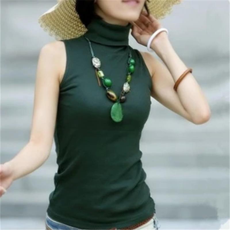 欧美春夏上衣薄款纯棉修身女t恤绿色高领无袖衫打低纯色白色潮ins