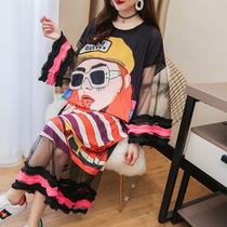 大码女装青春洋气设计感短袖T恤裙中长款夏季宽松假两件ins体恤