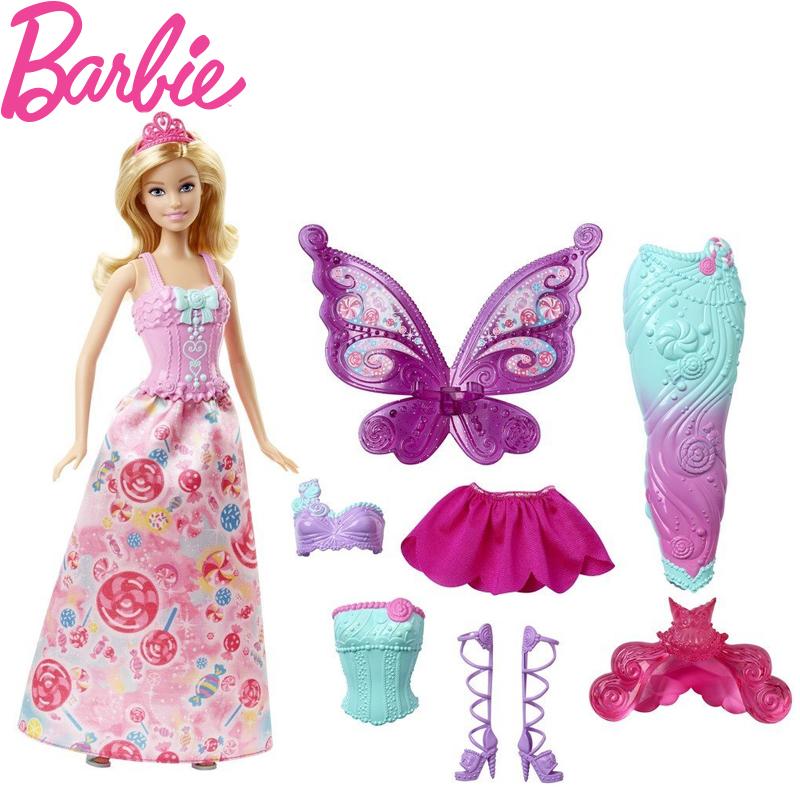 正品Barbie/芭比童话换装组DHC39美人鱼公主芭比娃娃女孩玩具礼物