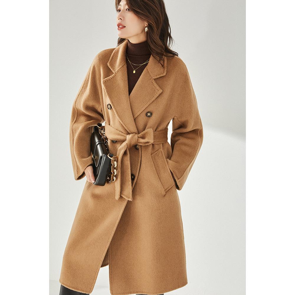 21冬长毛LUO驼绒插肩袖101801宽松休闲小个子毛呢外套大衣女11226