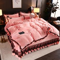 ins风网红款冬季加厚法兰绒四件套保暖被套珊瑚绒欧式床裙被子4件
