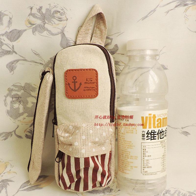 Taobufan new stationery bag label pen cotton hemp small water bottle cover cosmetics storage bag change cloth art splicing bag