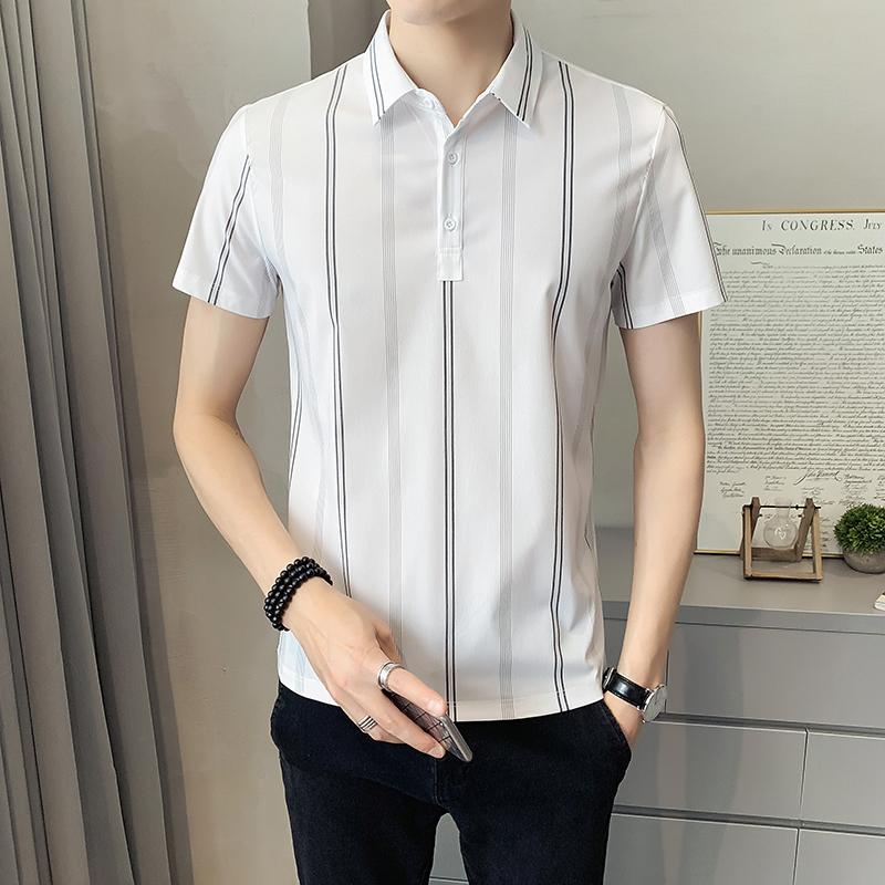 2021夏季新款时尚男士韩版修身帅气条纹短袖POLO衫男装PL503-P50