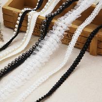 白色钉珠蕾丝花边辅料珍珠领子蕾丝带黑色服装衣服装饰手工DIY