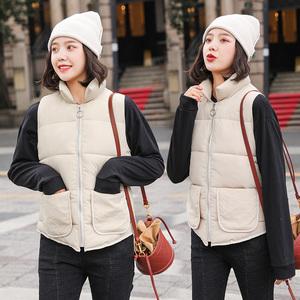 短款小香风19新款磨砂面料棉服马甲女ins韩版修身大口袋冬装外套