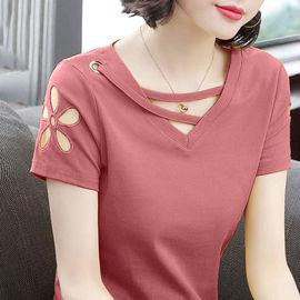 夏季新款精梳棉纯棉短袖t恤女学生韩版潮宽松打底衫体恤大码上衣