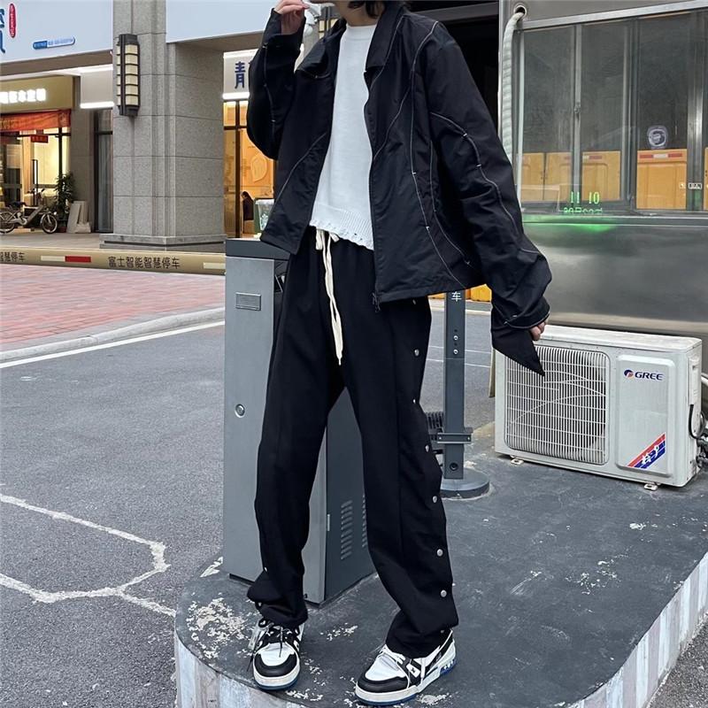 HELIPORT停机坪黑色侧边排扣裤日本潮牌高街男女百搭直筒休闲长裤