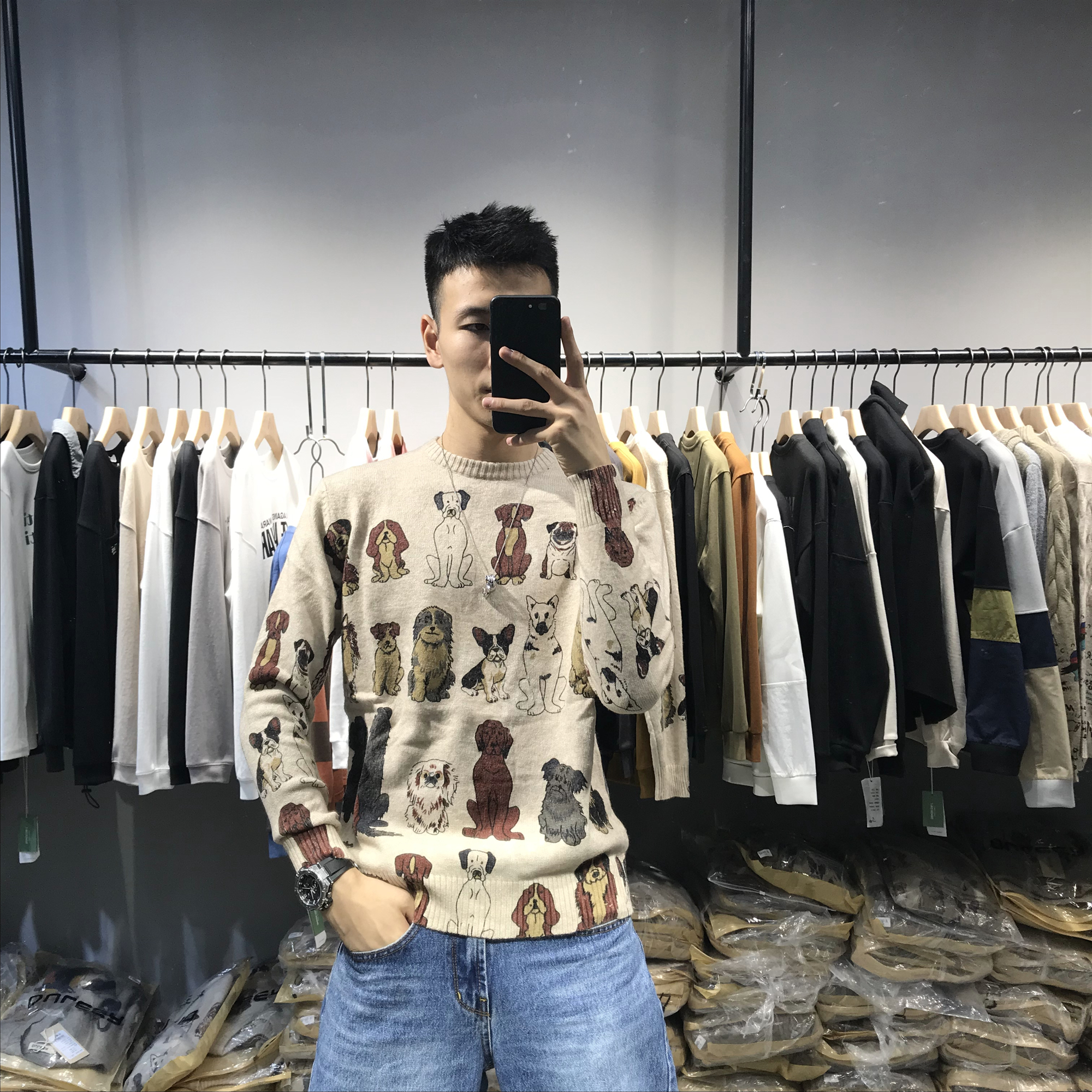 Autumn and winter new dog pattern round neck Pullover Korean loose knit net red same sweater for men and women