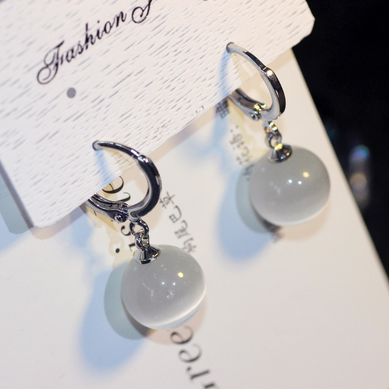 券后9.90元925纯银长款猫眼清新甜美韩版耳环
