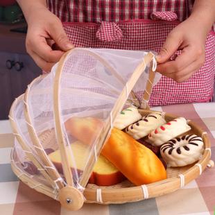 家用带纱罩竹编圆簸箕防蝇防虫筐面包馒头框农家晾晒匾竹制品筛子