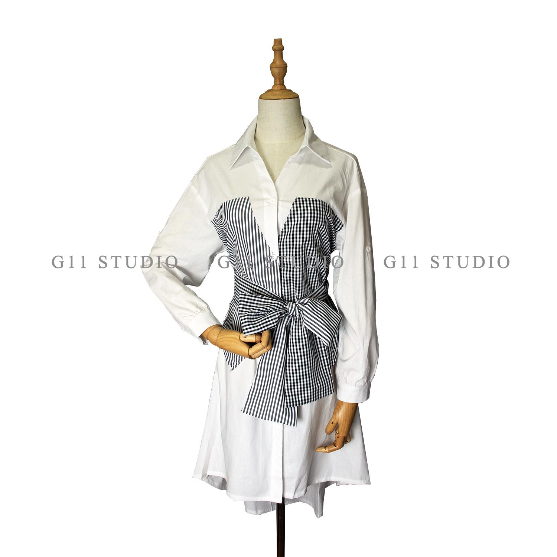 2020春季新款时尚假两件衬衫裙连衣裙#6020