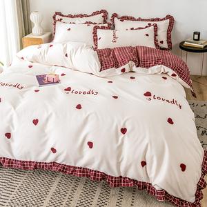 公主风床上四件套ins北欧床单被套少女心床笠夏季三件套床上用品