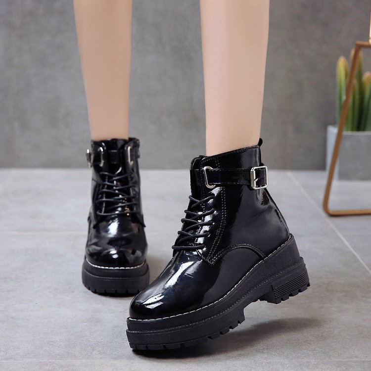 Other / other Martin boots winter black short boots round head short boots Rhinestone patent leather thick heel high heel womens Boots